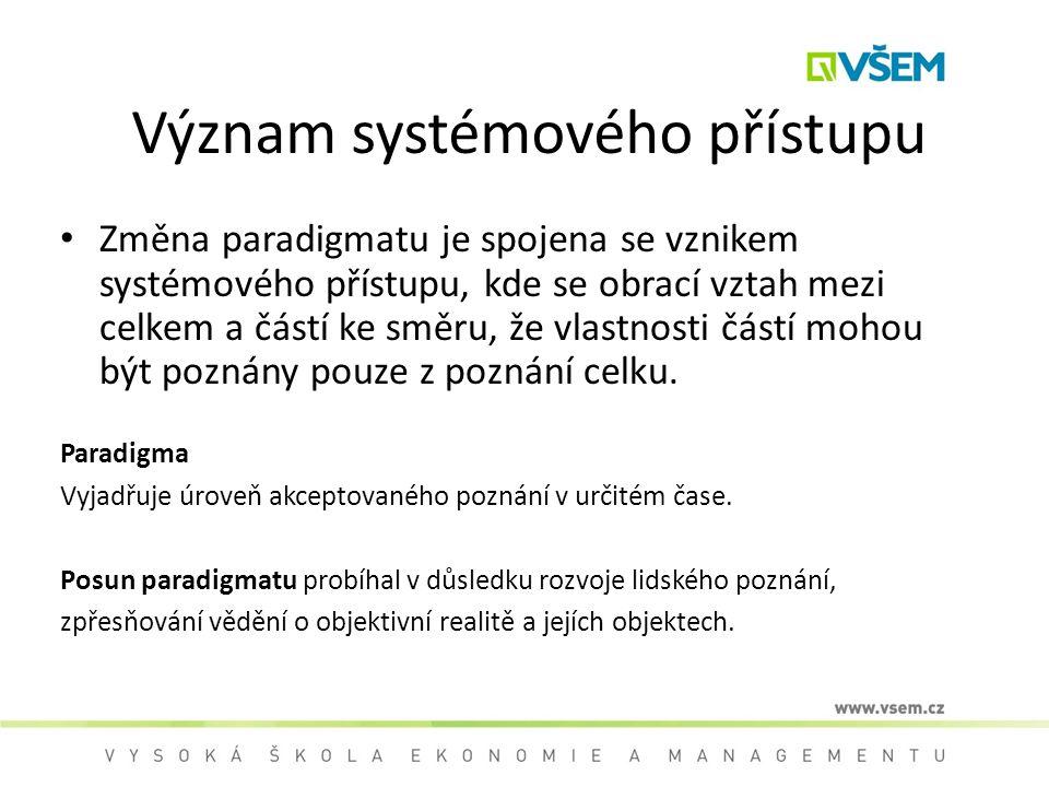 Význam systémového přístupu