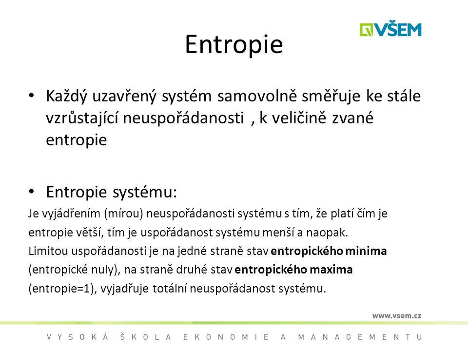 Entropie Každý uzavřený systém samovolně směřuje ke stále vzrůstající neuspořádanosti , k veličině zvané entropie.
