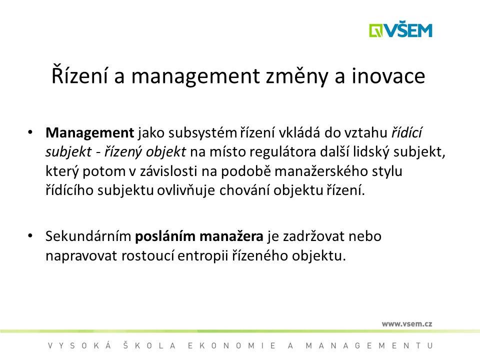 Řízení a management změny a inovace