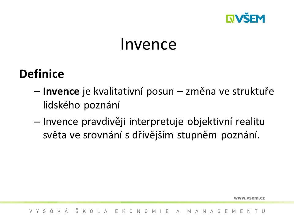 Invence Definice. Invence je kvalitativní posun – změna ve struktuře lidského poznání.