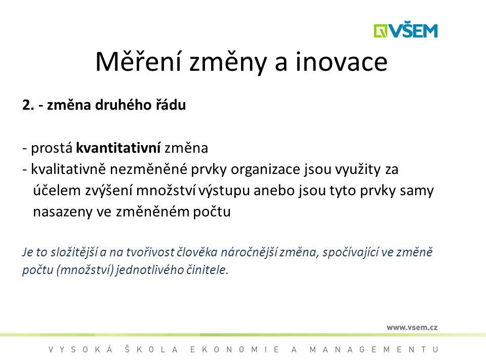 Měření změny a inovace 2. - změna druhého řádu