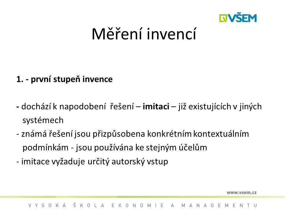 Měření invencí 1. - první stupeň invence