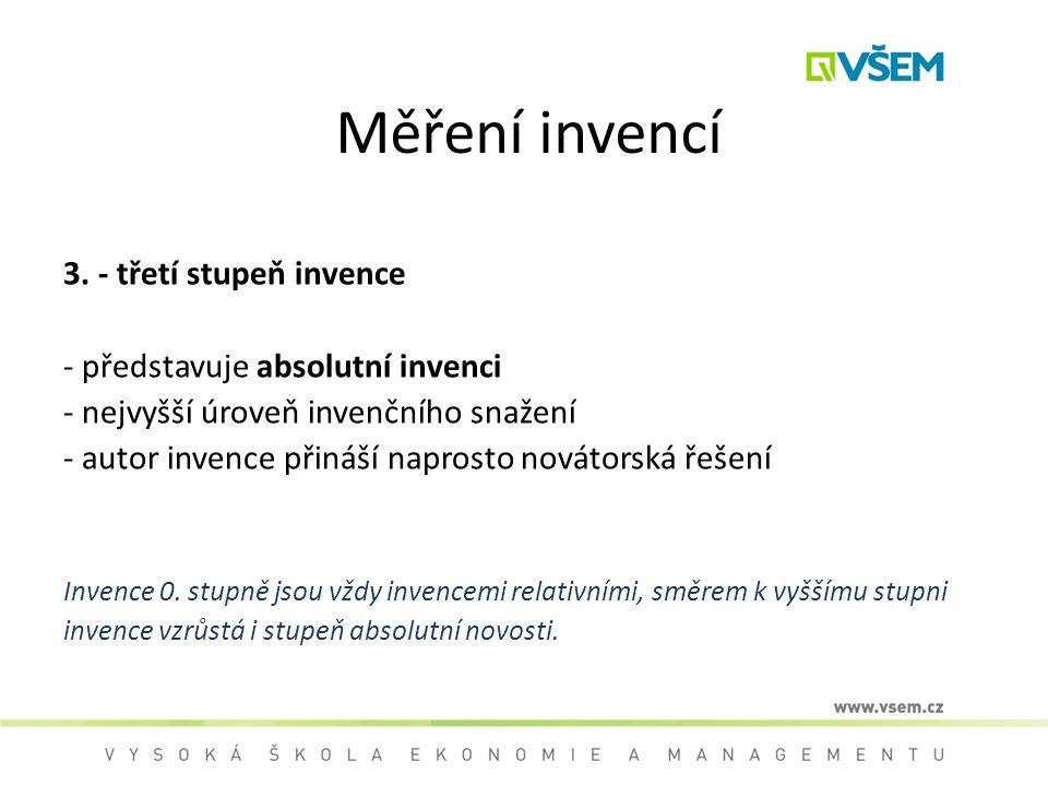 Měření invencí 3. - třetí stupeň invence