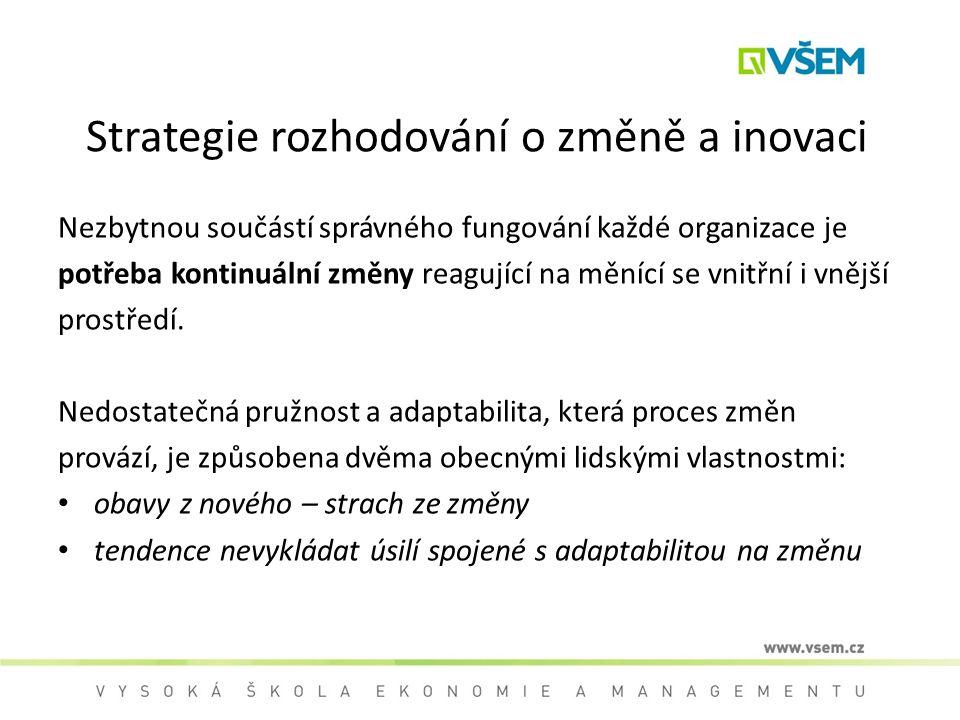 Strategie rozhodování o změně a inovaci