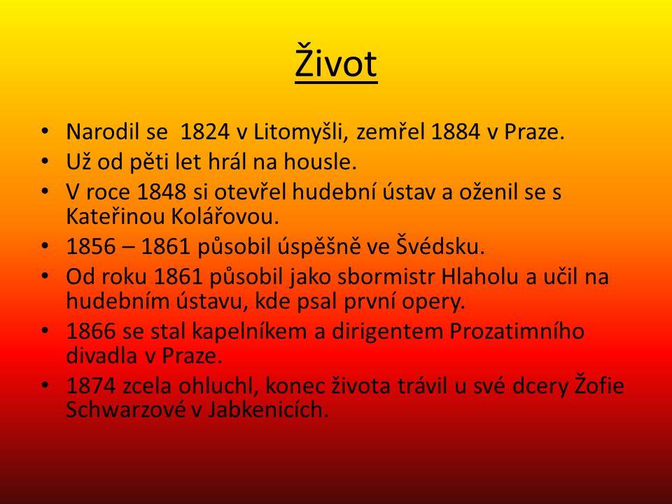 Život Narodil se 1824 v Litomyšli, zemřel 1884 v Praze.