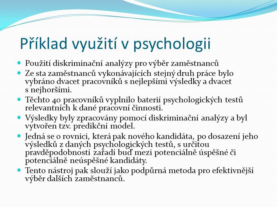 Příklad využití v psychologii