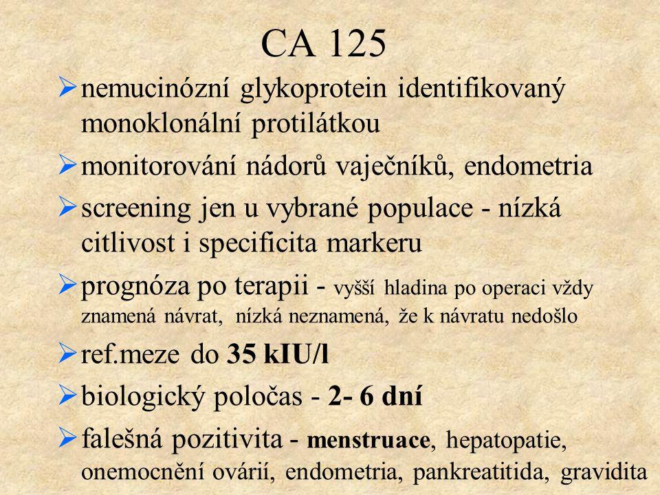 CA 125 nemucinózní glykoprotein identifikovaný monoklonální protilátkou. monitorování nádorů vaječníků, endometria.