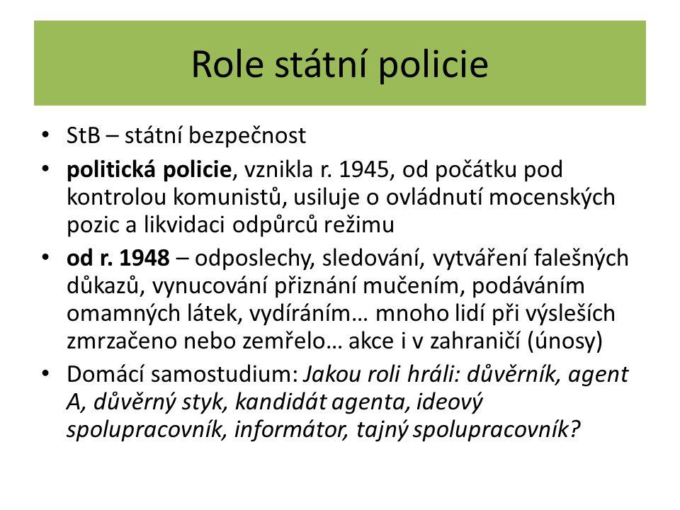 Role státní policie StB – státní bezpečnost