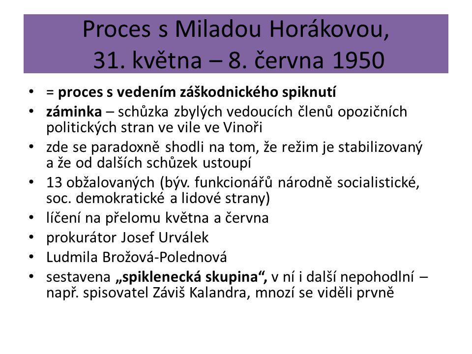 Proces s Miladou Horákovou, 31. května – 8. června 1950