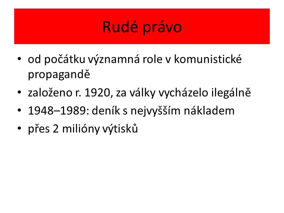 Rudé právo od počátku významná role v komunistické propagandě