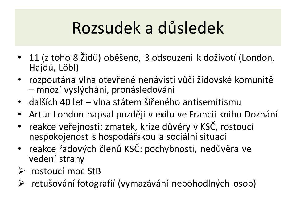 Rozsudek a důsledek 11 (z toho 8 Židů) oběšeno, 3 odsouzeni k doživotí (London, Hajdů, Löbl)