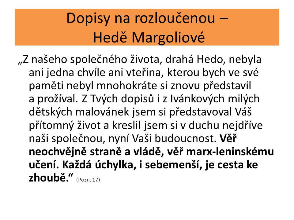 Dopisy na rozloučenou – Hedě Margoliové