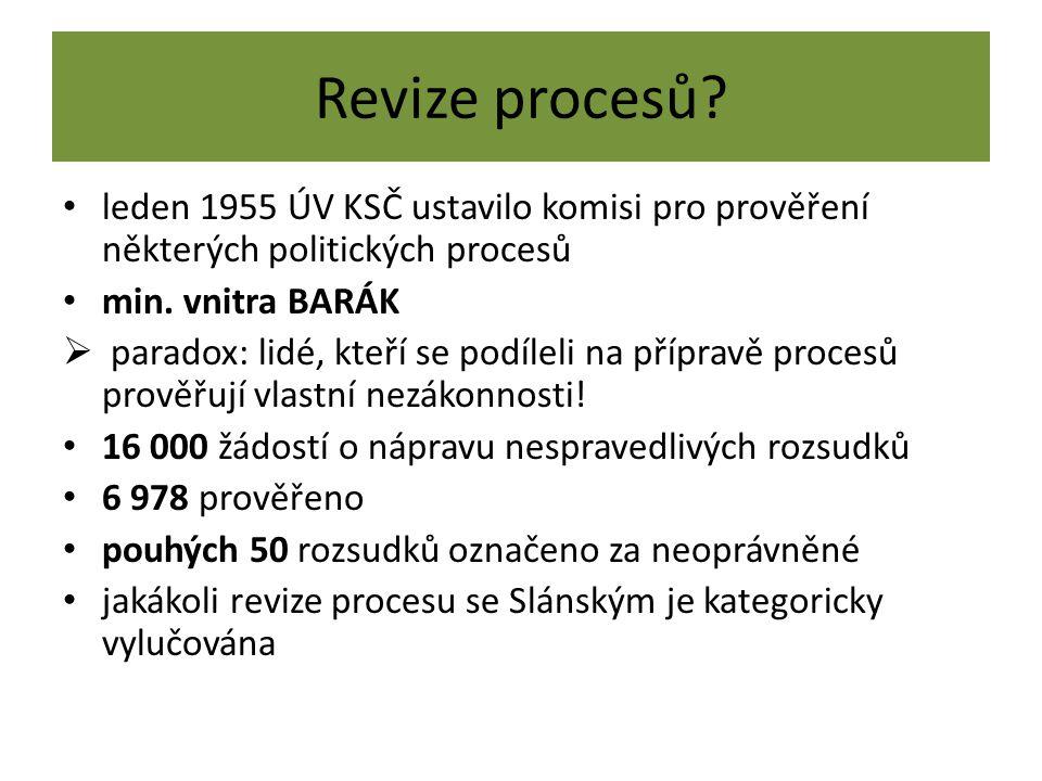 Revize procesů leden 1955 ÚV KSČ ustavilo komisi pro prověření některých politických procesů. min. vnitra BARÁK.