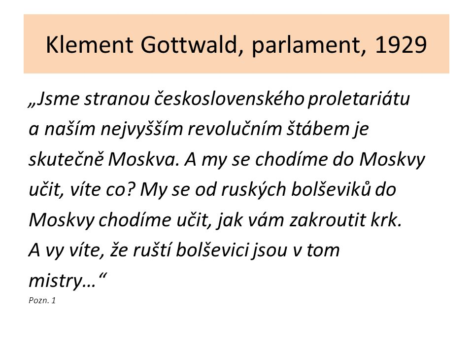 Klement Gottwald, parlament, 1929