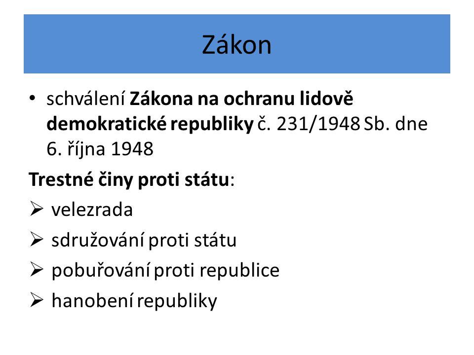 Zákon schválení Zákona na ochranu lidově demokratické republiky č. 231/1948 Sb. dne 6. října 1948. Trestné činy proti státu:
