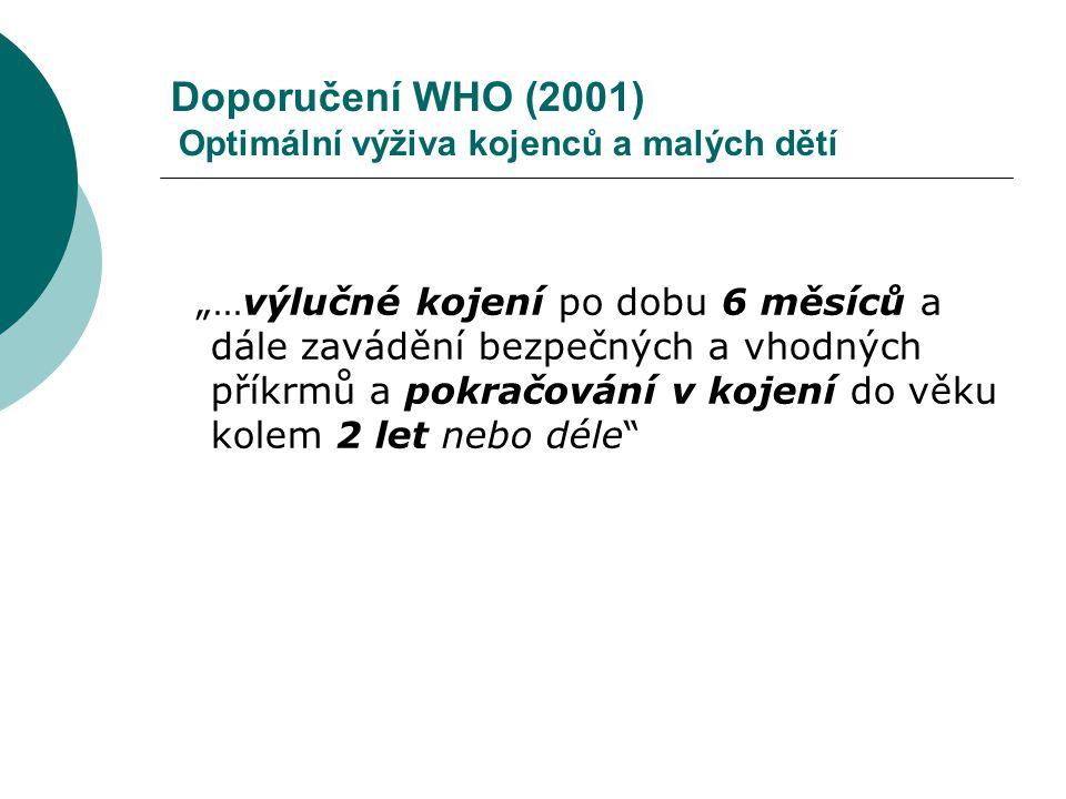 Doporučení WHO (2001) Optimální výživa kojenců a malých dětí