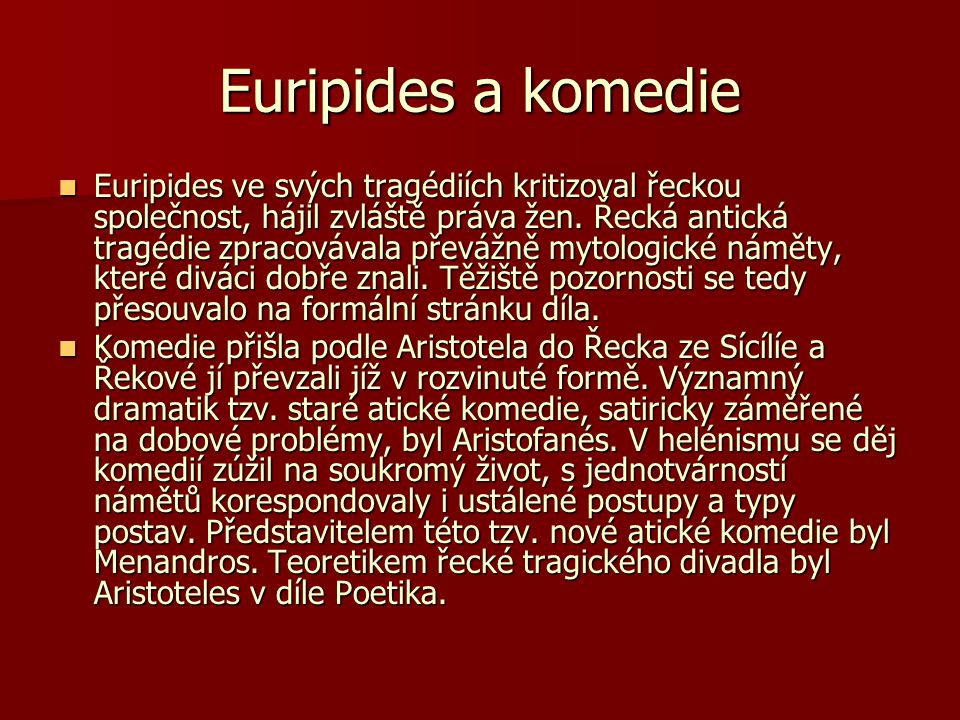 Euripides a komedie