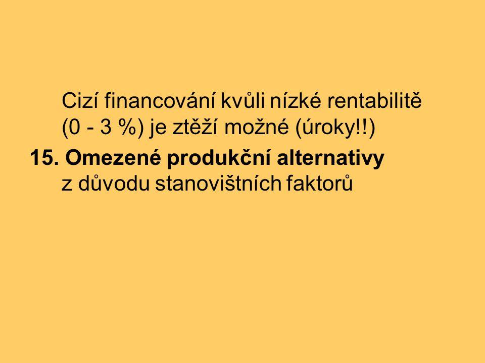 Cizí financování kvůli nízké rentabilitě (0 - 3 %) je ztěží možné (úroky!!)