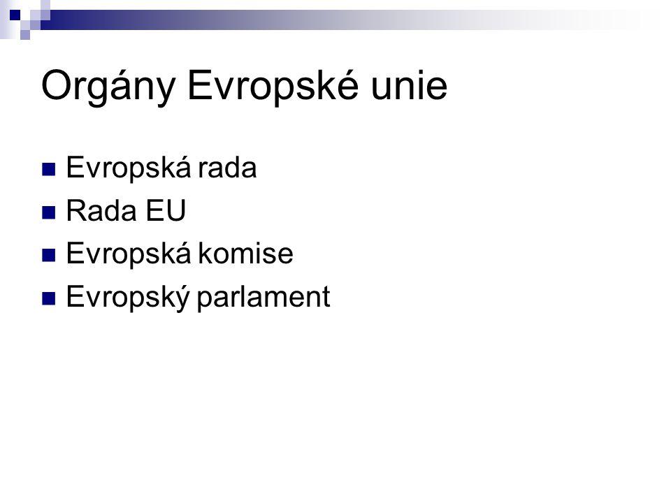 Orgány Evropské unie Evropská rada Rada EU Evropská komise