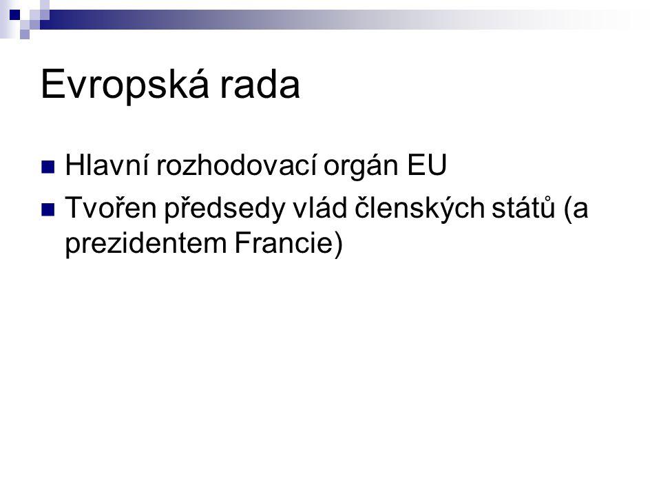 Evropská rada Hlavní rozhodovací orgán EU