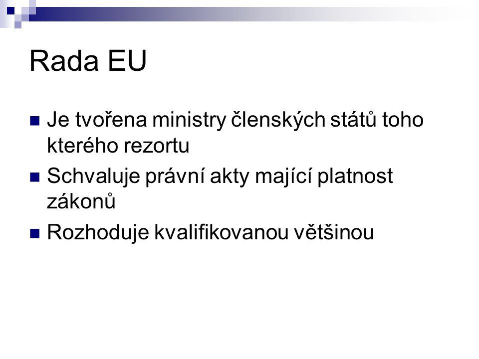 Rada EU Je tvořena ministry členských států toho kterého rezortu