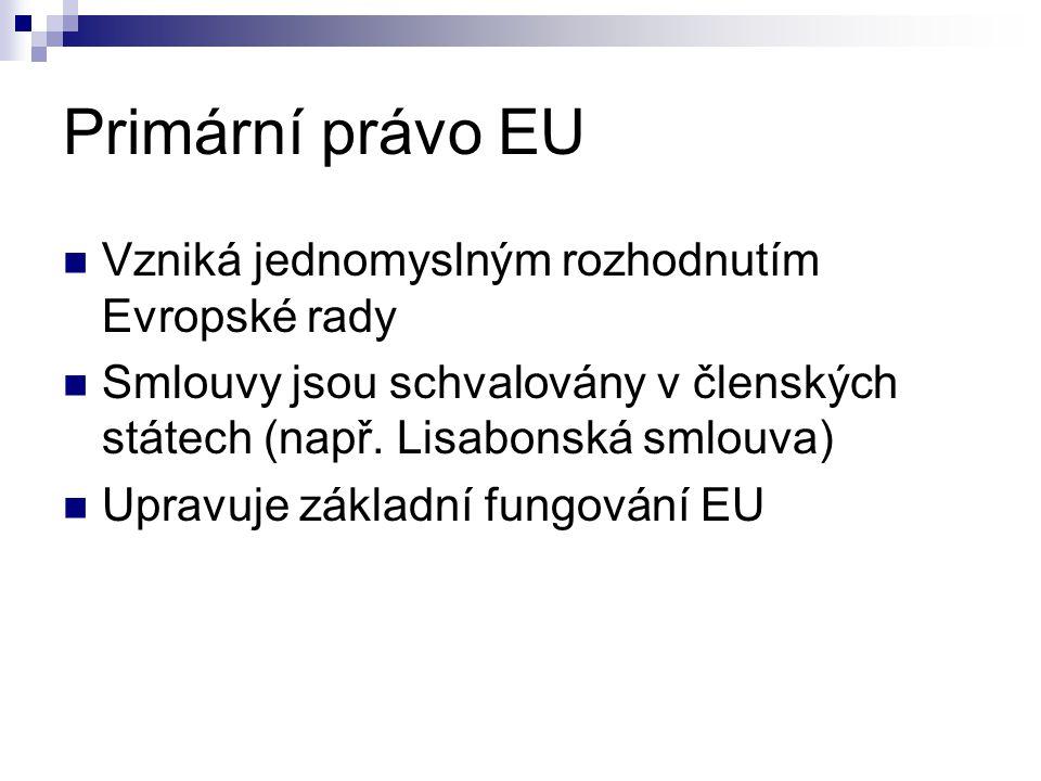Primární právo EU Vzniká jednomyslným rozhodnutím Evropské rady