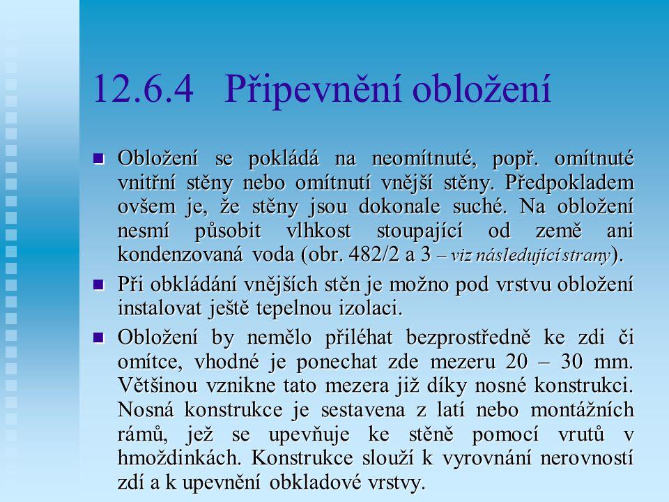 12.6.4 Připevnění obložení