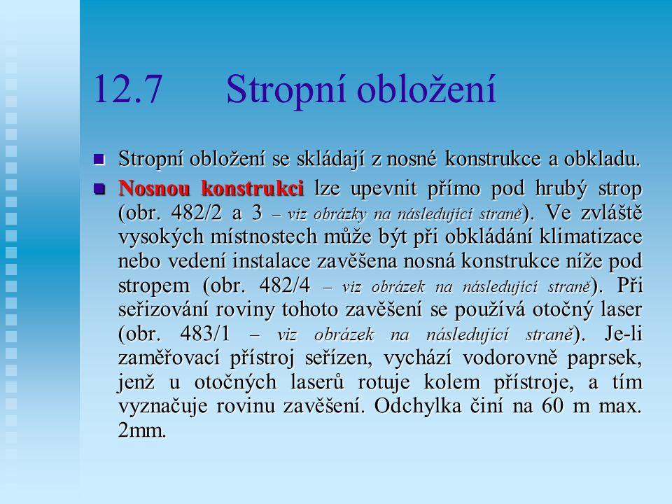 12.7 Stropní obložení Stropní obložení se skládají z nosné konstrukce a obkladu.