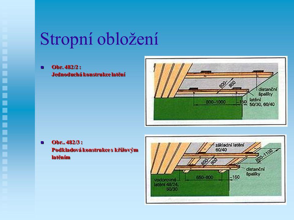 Stropní obložení Obr. 482/2 : Jednoduchá konstrukce latění