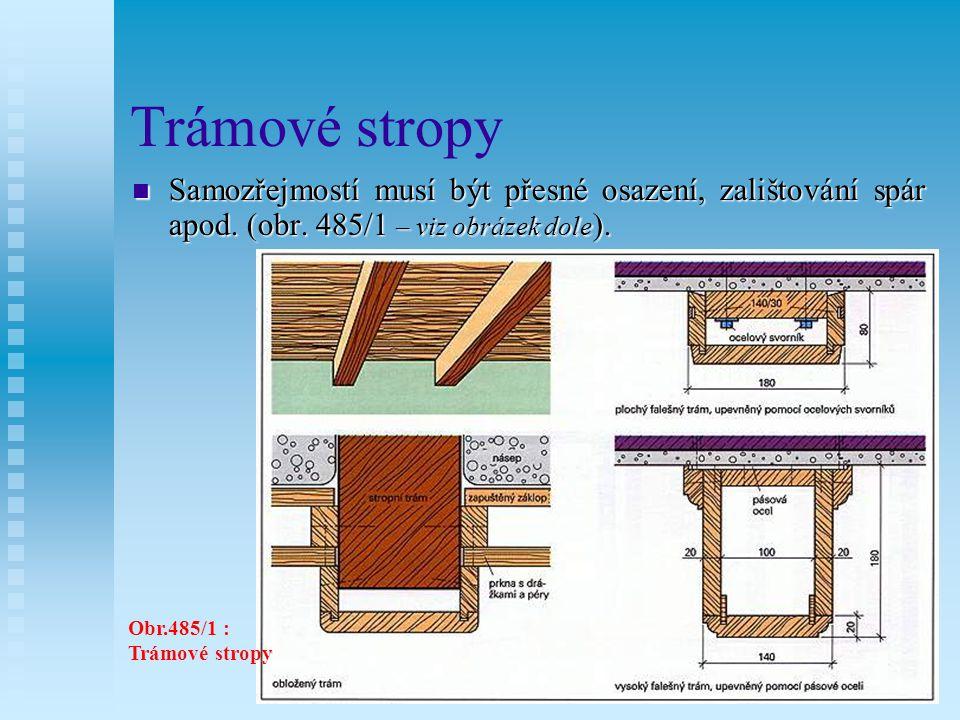 Trámové stropy Samozřejmostí musí být přesné osazení, zalištování spár apod. (obr. 485/1 – viz obrázek dole).
