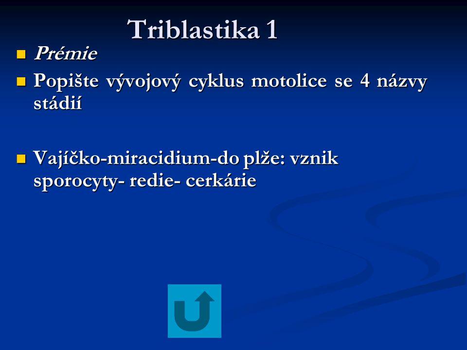 Triblastika 1 Prémie. Popište vývojový cyklus motolice se 4 názvy stádií.