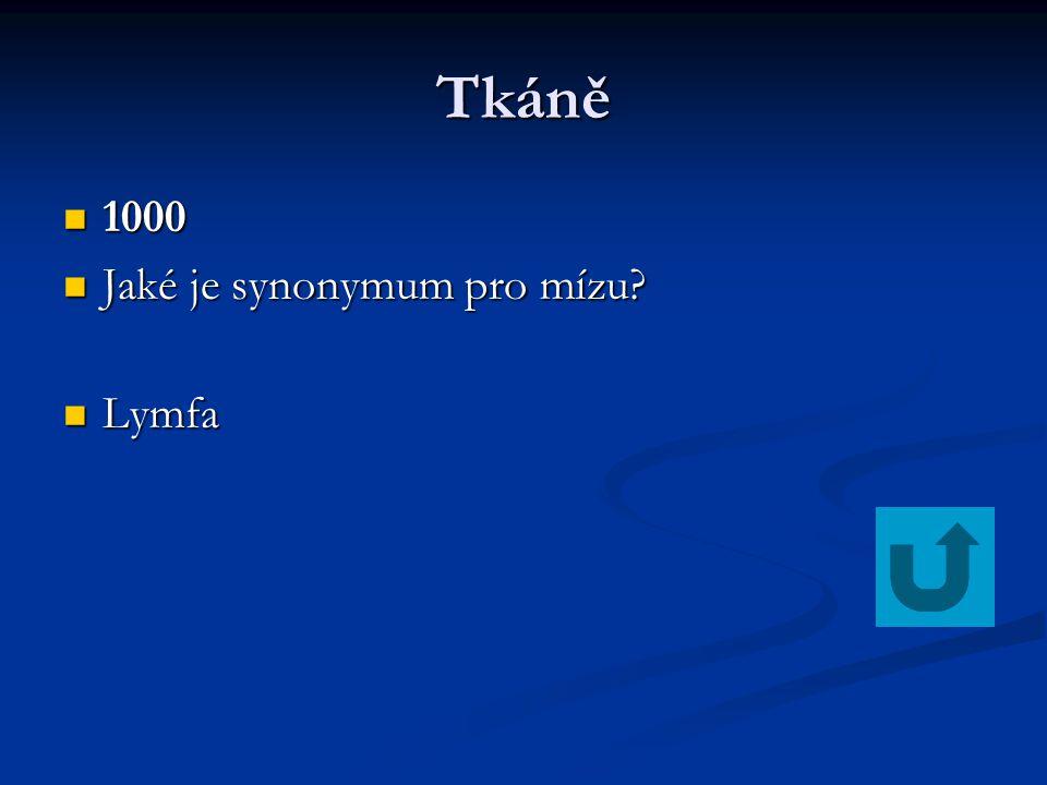 Tkáně 1000 Jaké je synonymum pro mízu Lymfa