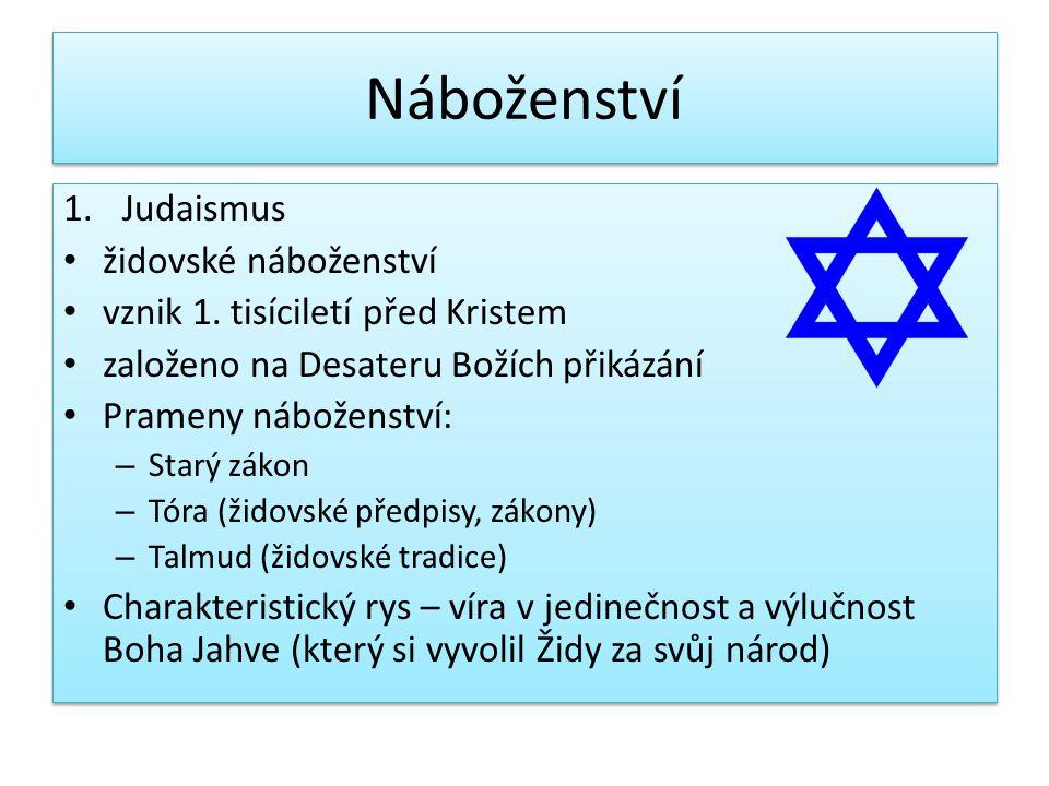 Náboženství Judaismus židovské náboženství