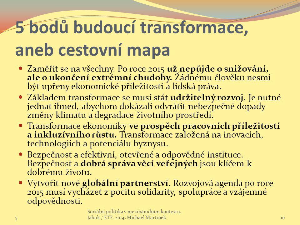 5 bodů budoucí transformace, aneb cestovní mapa
