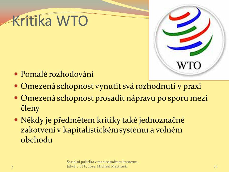 Kritika WTO Pomalé rozhodování