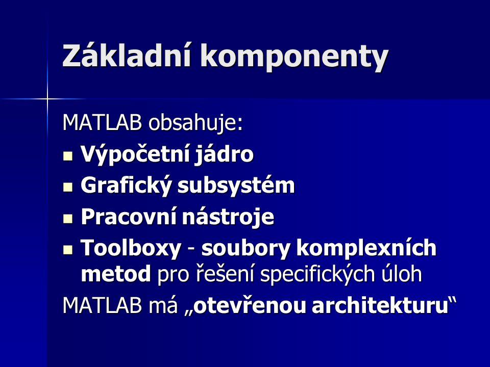 Základní komponenty MATLAB obsahuje: Výpočetní jádro