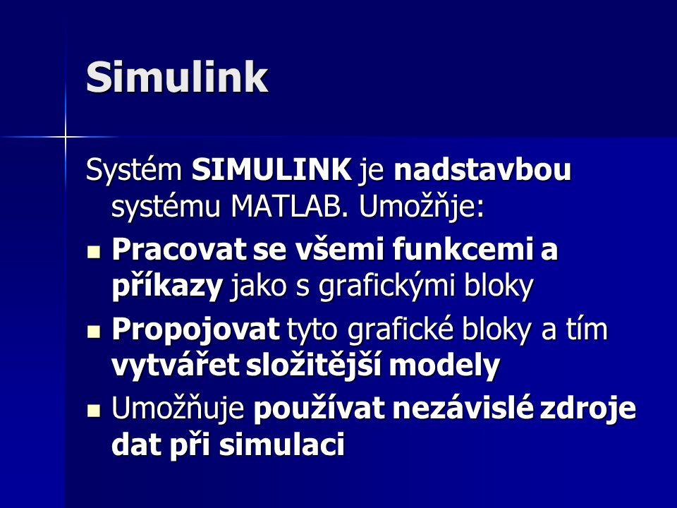 Simulink Systém SIMULINK je nadstavbou systému MATLAB. Umožňje: