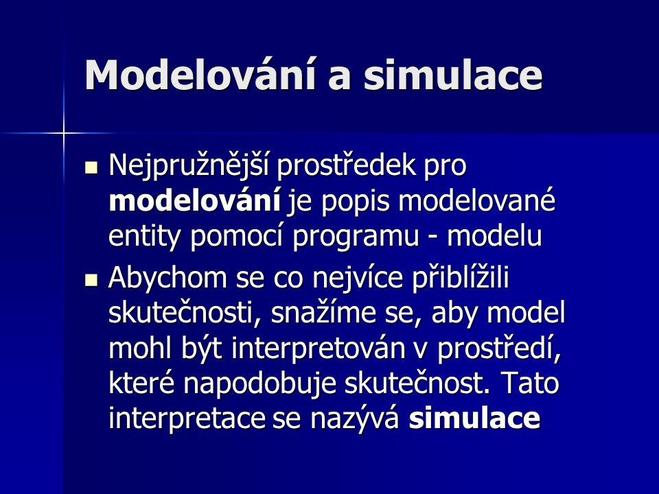 Modelování a simulace Nejpružnější prostředek pro modelování je popis modelované entity pomocí programu - modelu.