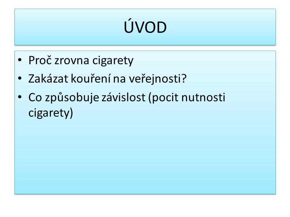 ÚVOD Proč zrovna cigarety Zakázat kouření na veřejnosti