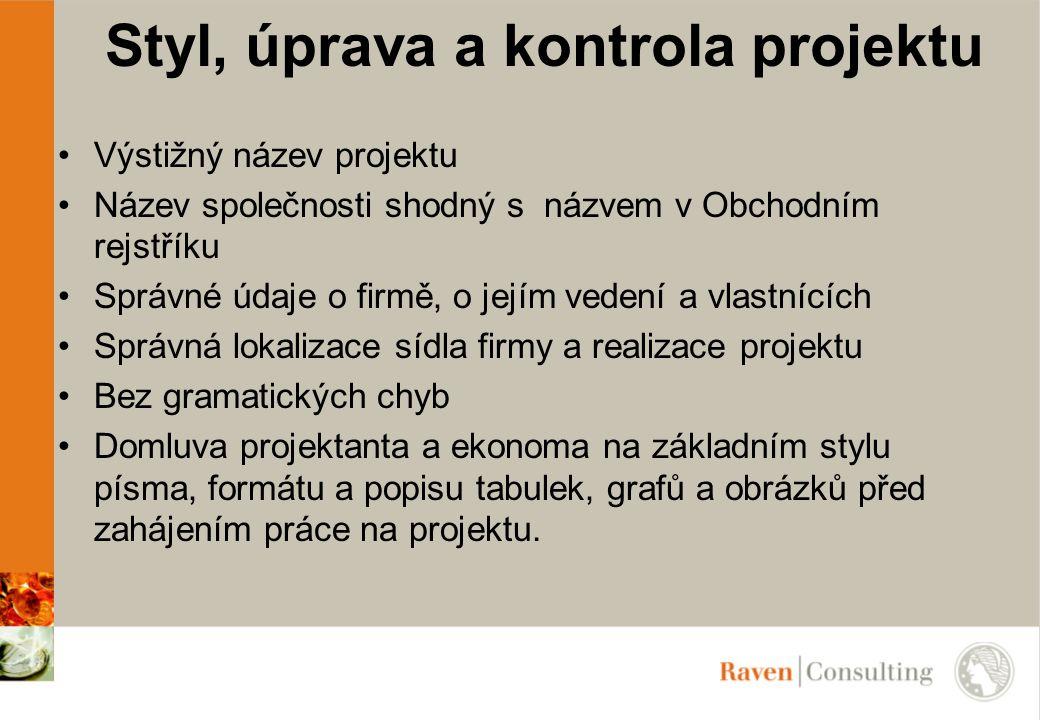 Styl, úprava a kontrola projektu