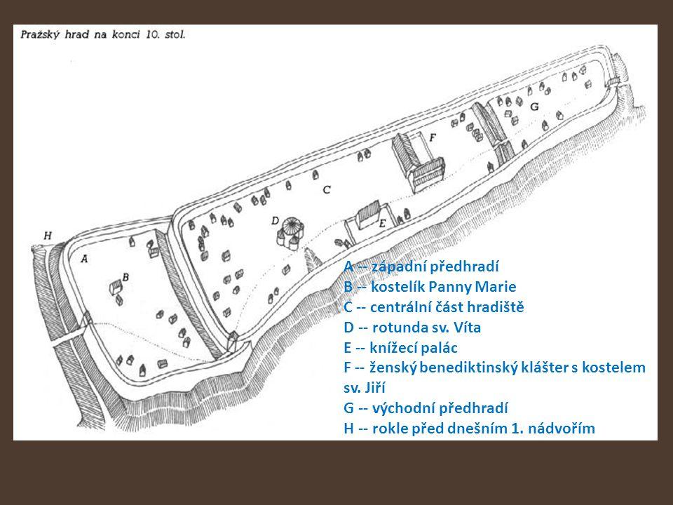 A -- západní předhradí B -- kostelík Panny Marie C -- centrální část hradiště D -- rotunda sv.