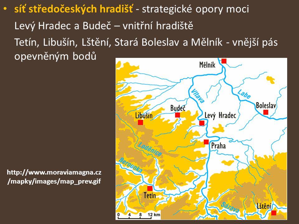 síť středočeských hradišť - strategické opory moci