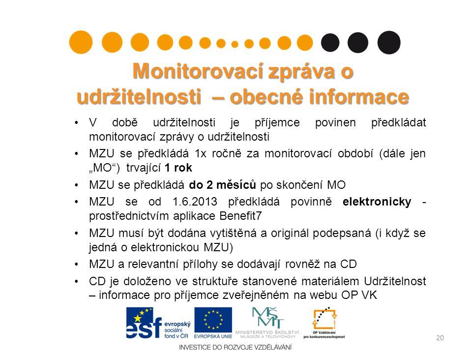 Monitorovací zpráva o udržitelnosti – obecné informace