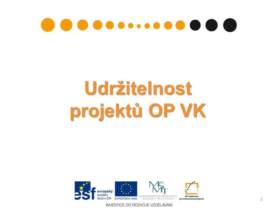 Udržitelnost projektů OP VK