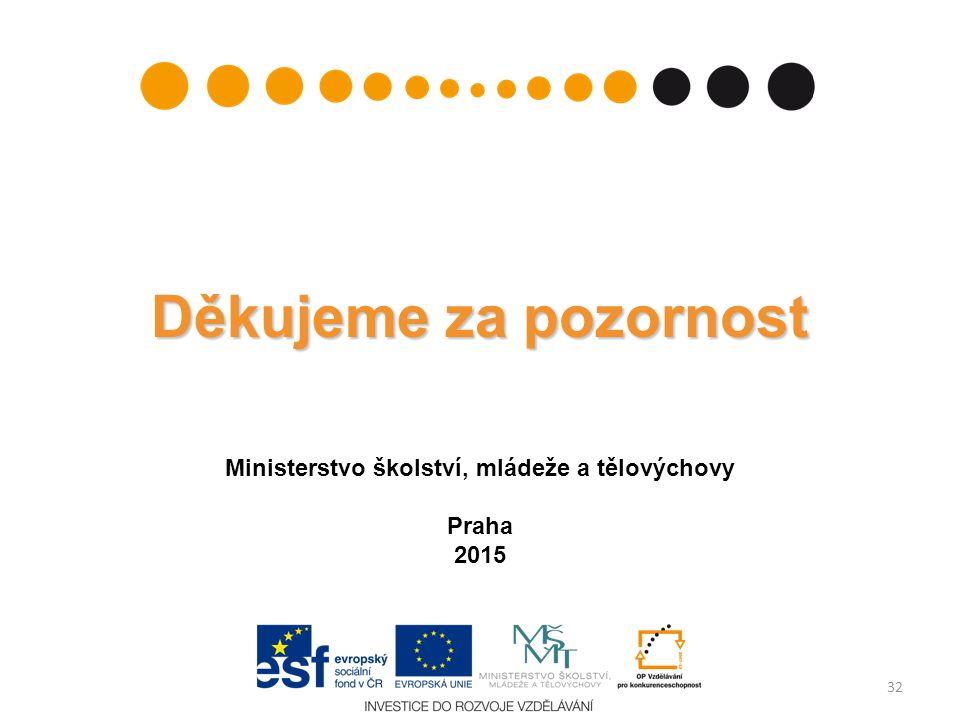 Děkujeme za pozornost Ministerstvo školství, mládeže a tělovýchovy Praha 2015