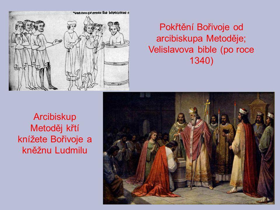 Arcibiskup Metoděj křtí knížete Bořivoje a kněžnu Ludmilu