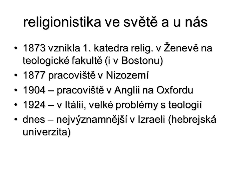 religionistika ve světě a u nás
