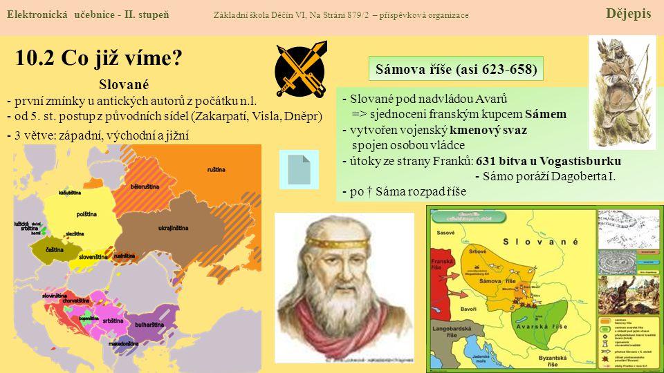 10.2 Co již víme Sámova říše (asi 623-658) Slované