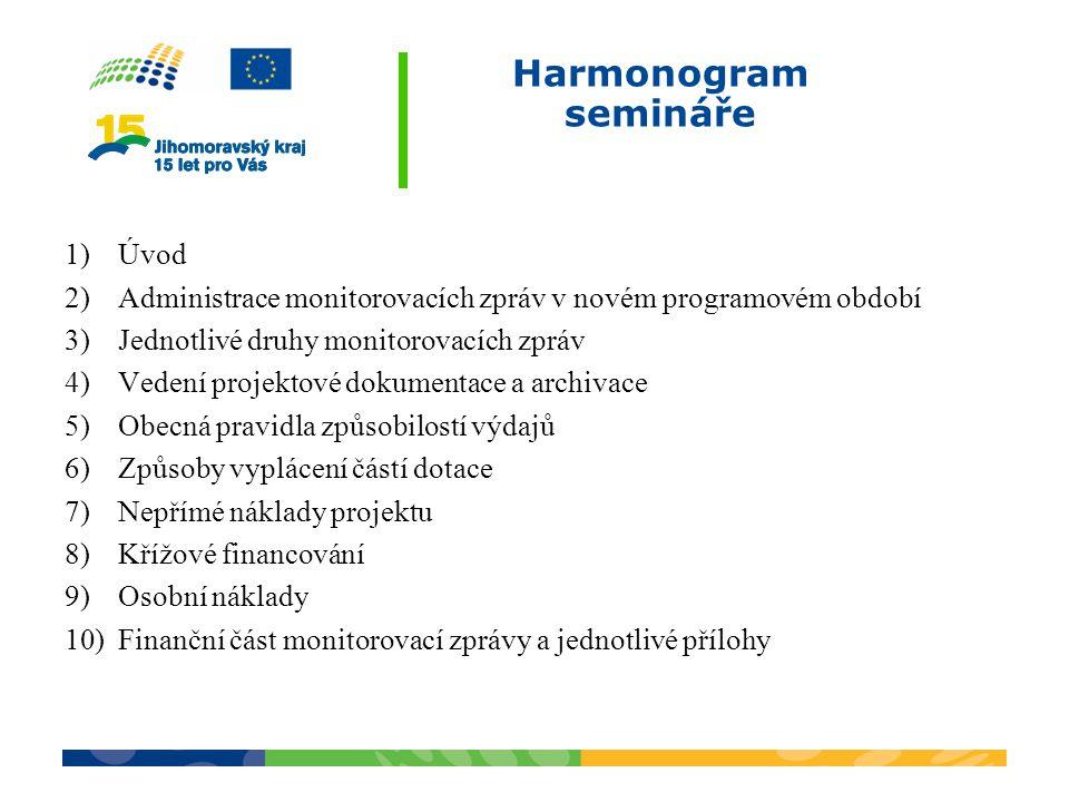 Harmonogram semináře Úvod