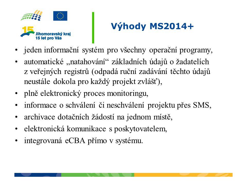 Výhody MS2014+ jeden informační systém pro všechny operační programy,
